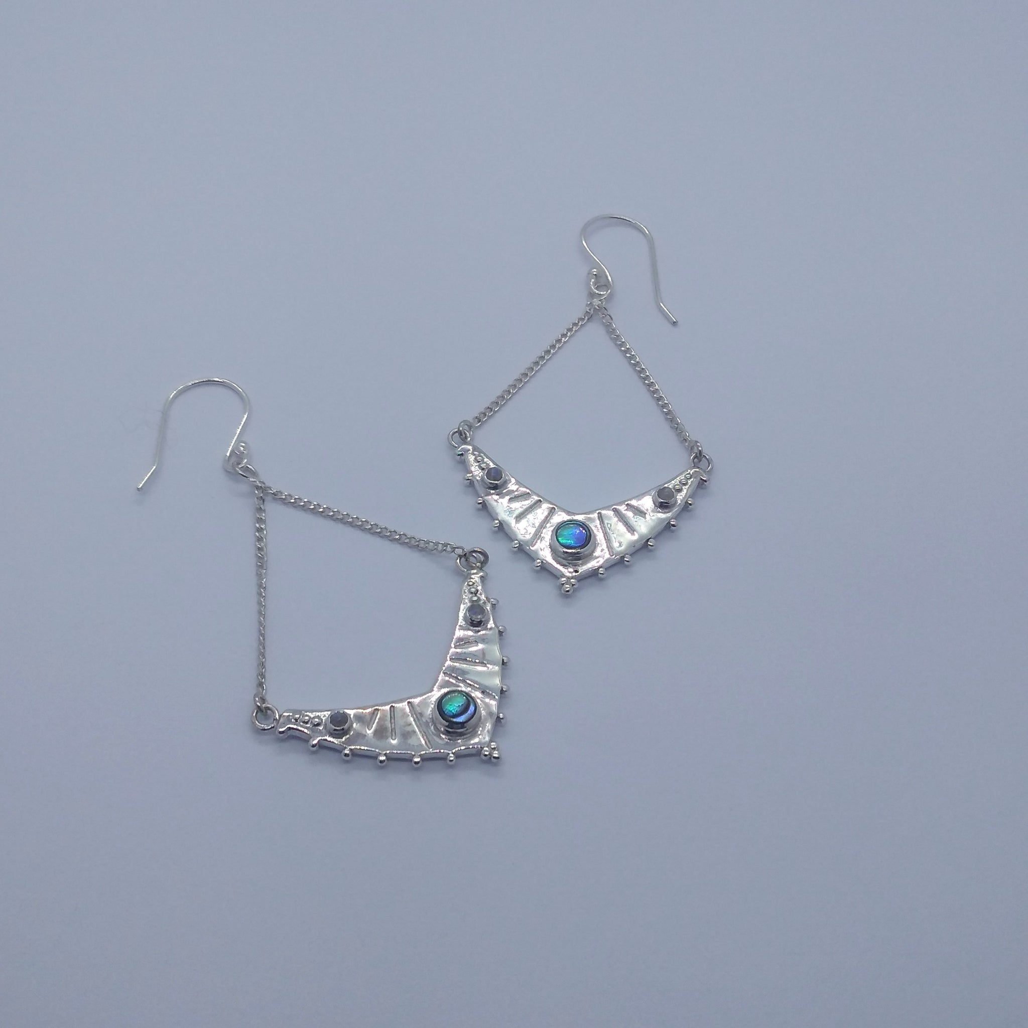 silver earrings abalone shell moonstone