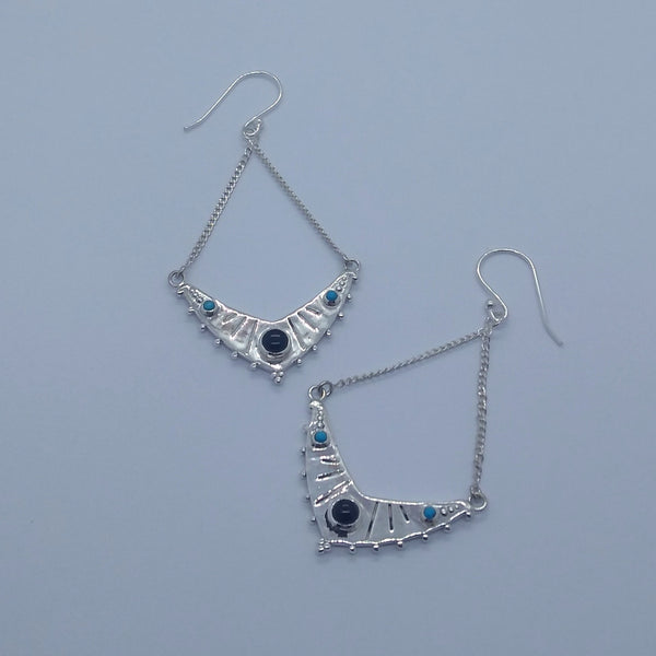 sterling silver earrings black onyx turquoise