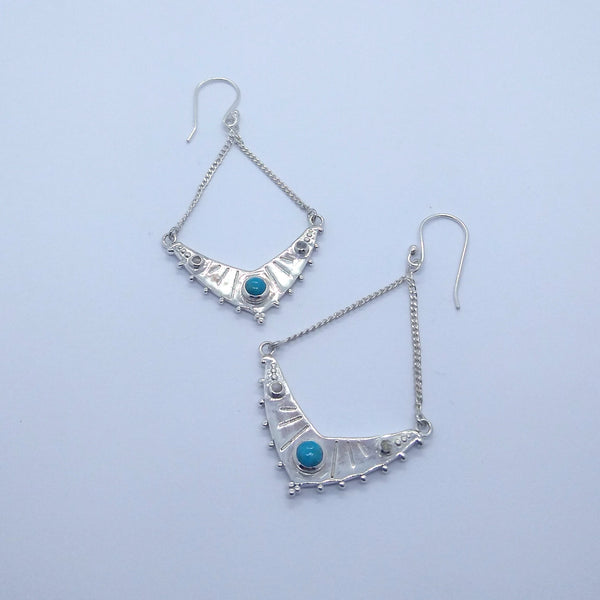 silver earrings turquoise moonstone