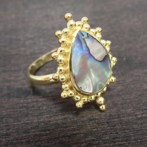 abalone shell brass ring star