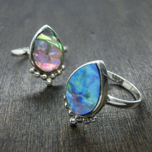 abalone shell ring sterling silver drop shape