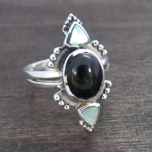 ring black onyx sterling silver abalone shell