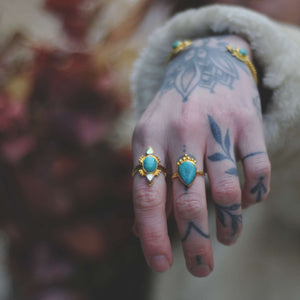 Turquoise Brass Ring⎜DROP