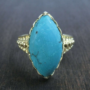 turquoise brass ring marquise front