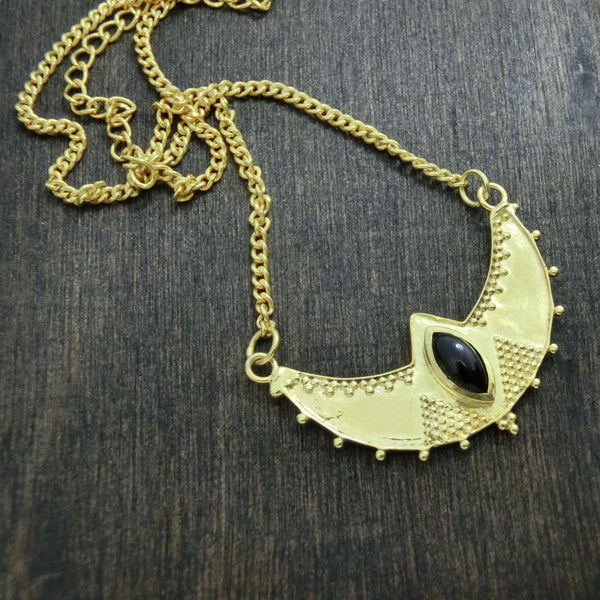 crescent necklace brass black onyx details noomaad