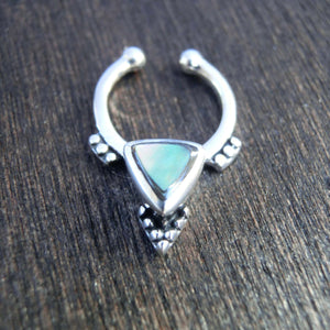 fake septum sterling silver abalone shell ritual