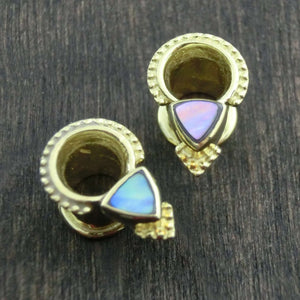 gauges brass abalone shell tribal tunnels