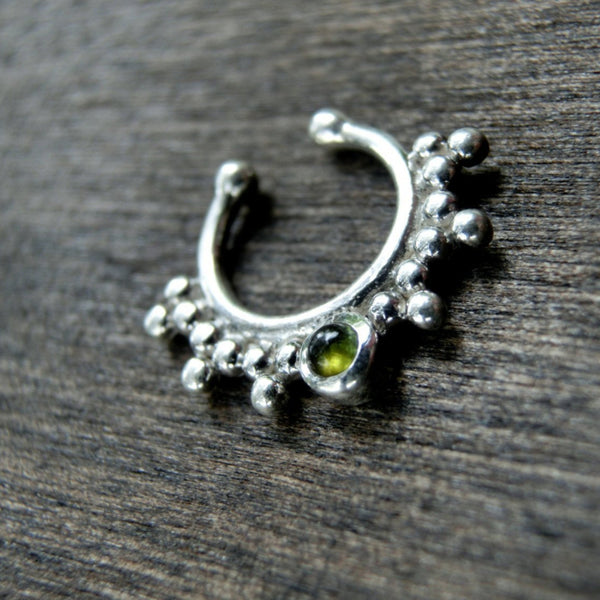 Green Tourmaline Fake Septum Silver