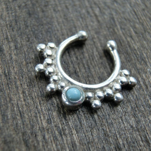 Turquoise Fake Septum Silver