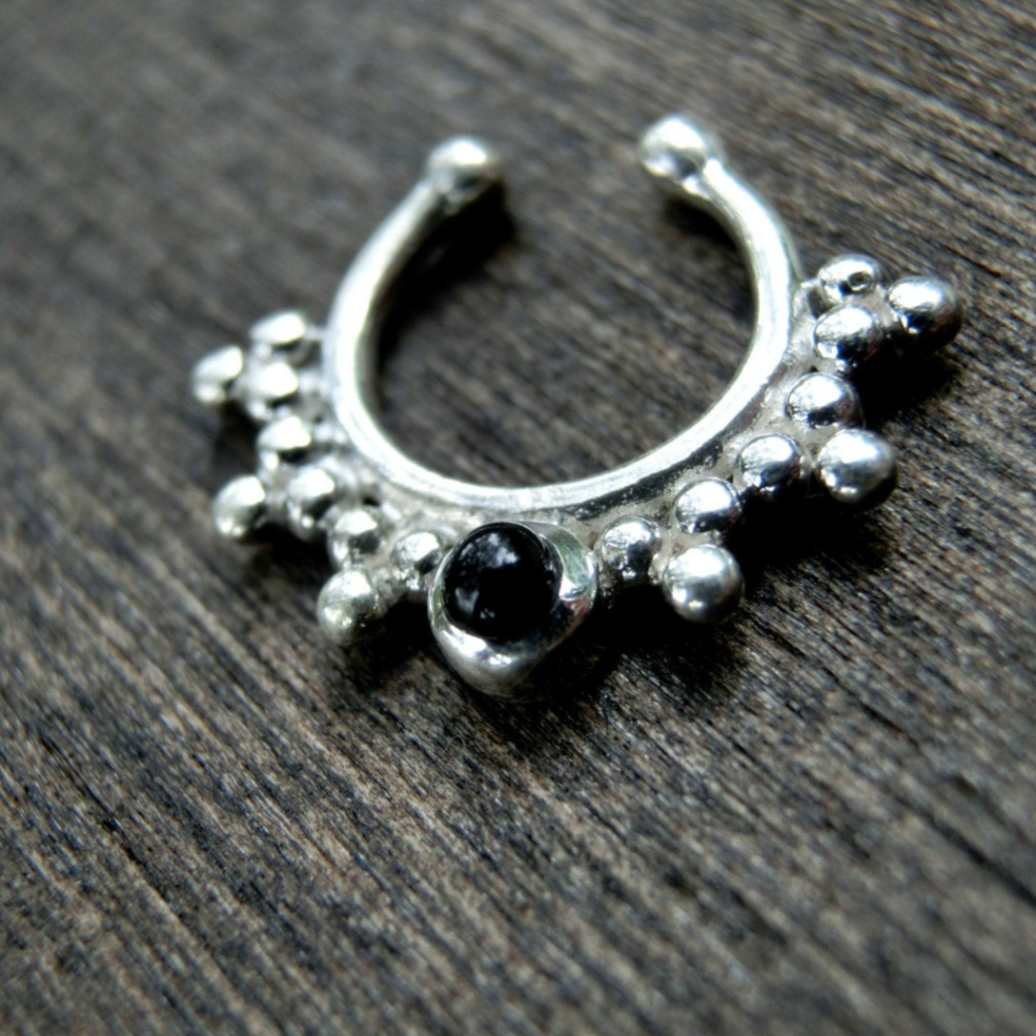 Black Onyx Fake Septum Silver