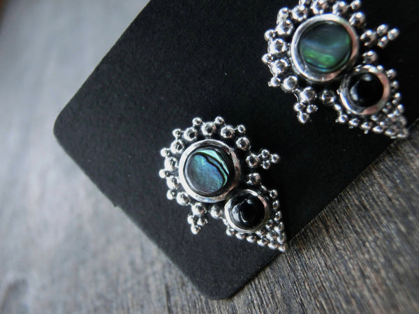 Stud Earrings with Abalone Shell & Black Onyx