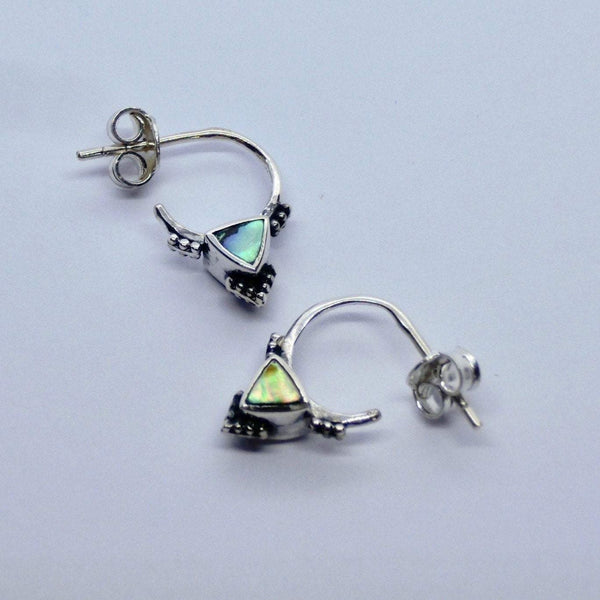 Triangle Stud Hoop Earrings with Abalone Shell
