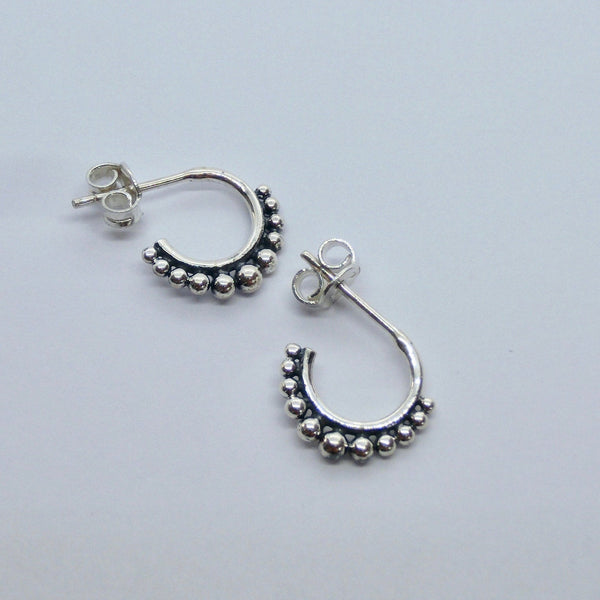 Tribal Stud Hoop Earrings 14 mm