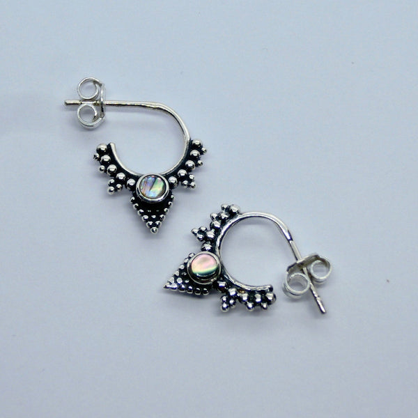 Stud Hoop Earrings with Black Onyx, Abalone Shell or Moonstone