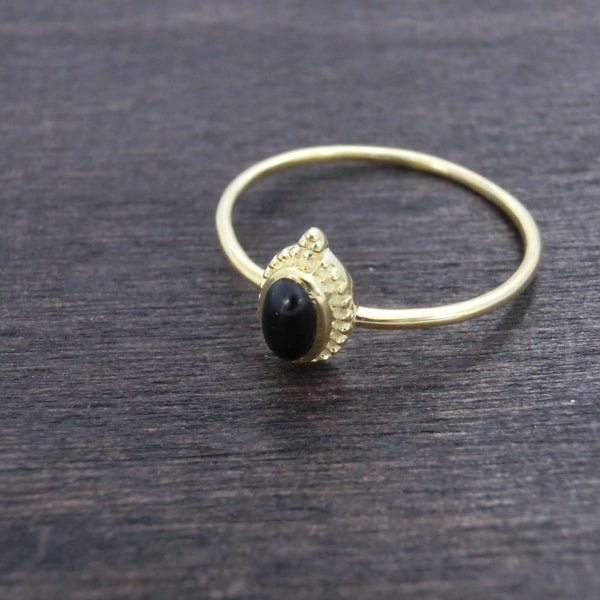 Dainty Brass Ring Moonstone or Black Onyx