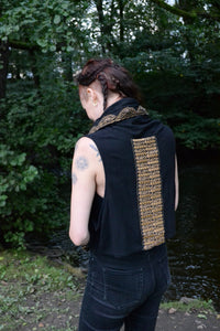 Black Tribal Hood Vest⎜Natural Clothing⎜Raw Silk