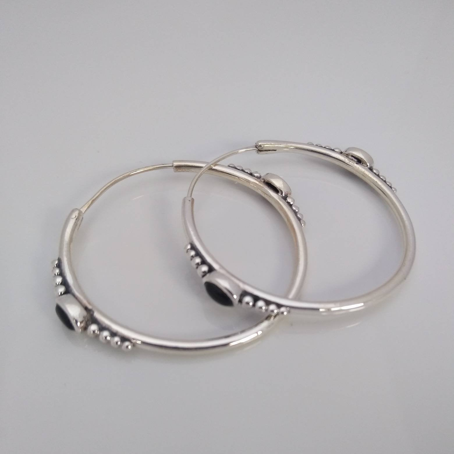 Hoop Earrings with Black Onyx