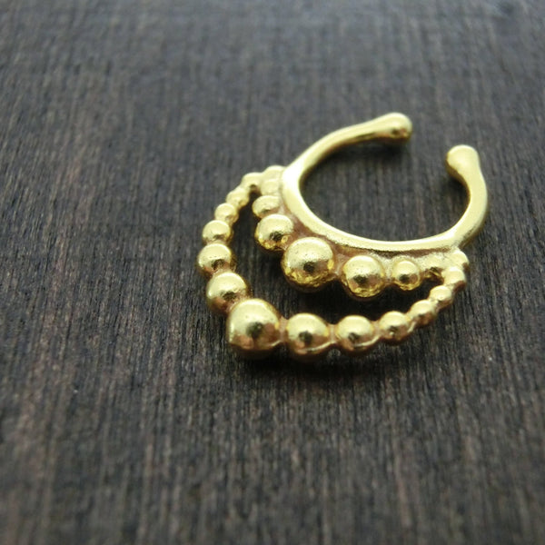 gold fake septum nose ring