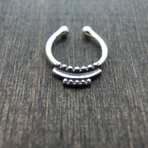 tribal fake septum sterling silver