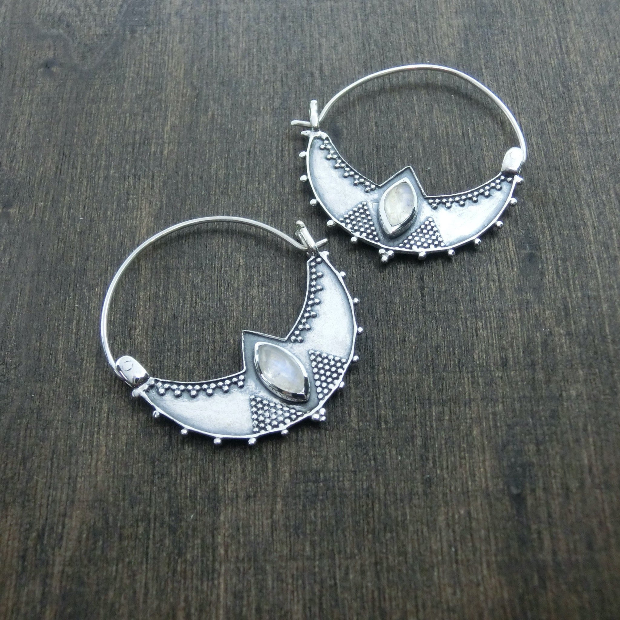 sterling silver earrings moonstone
