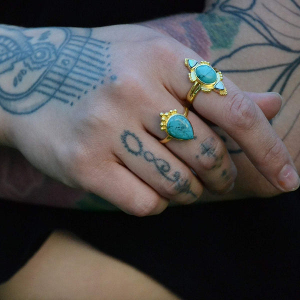turquoise brass ring drop