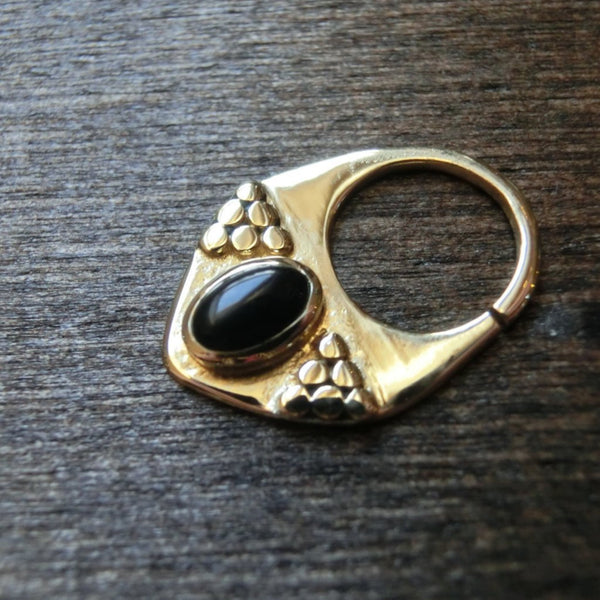 Black Onyx Brass Septum⎜Triangle