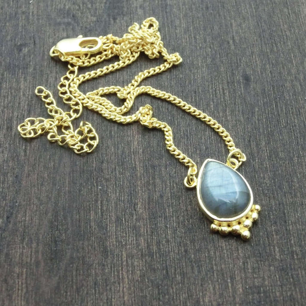 labradorite necklace brass gemstone pendant
