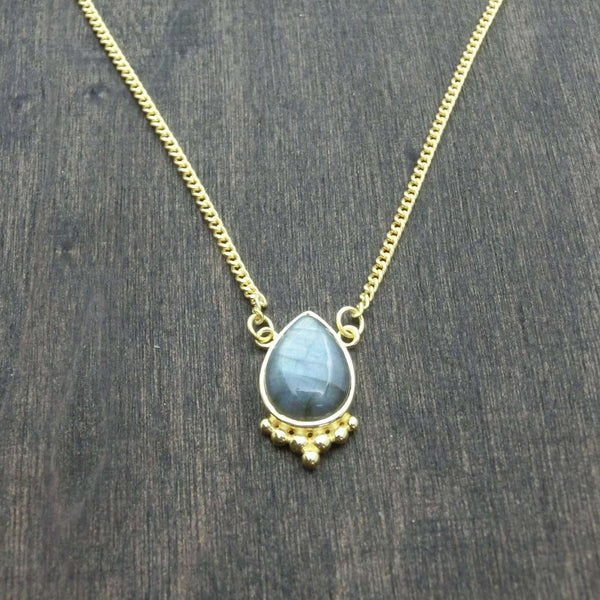 labradorite necklace drop shape brass