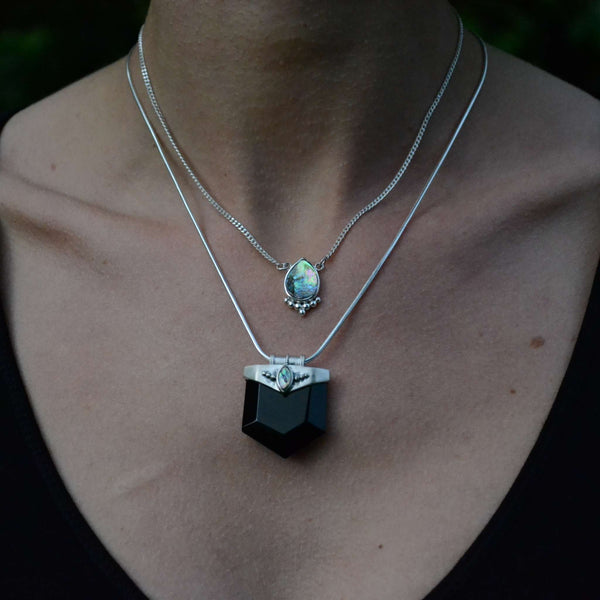crystal necklace silver for protection