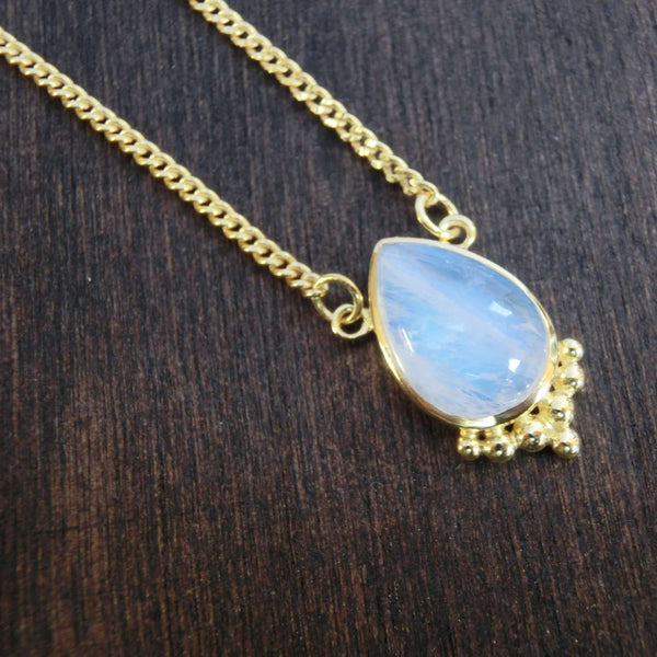 moonstone necklace brass drop
