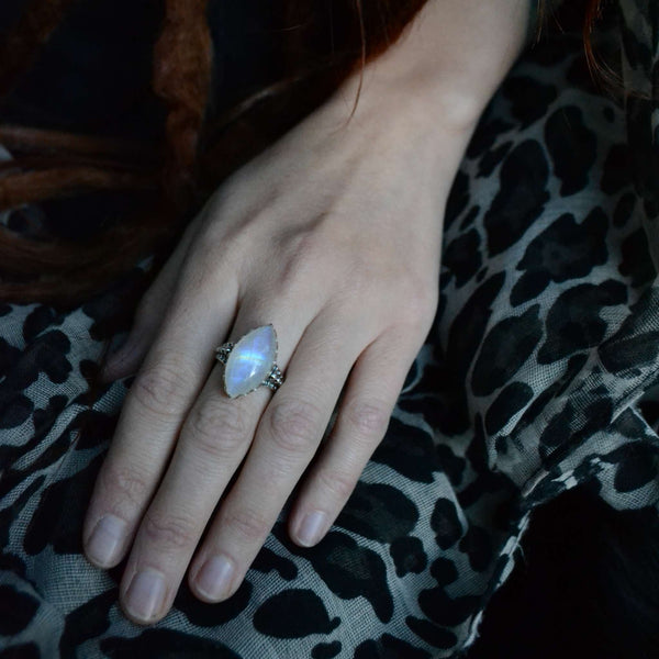 moonstone ring sterling silver marquise