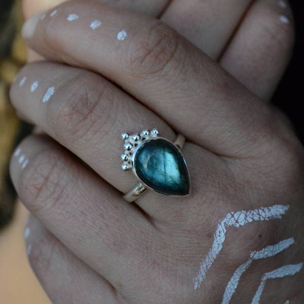 Labradorite Silver Ring⎜DROP