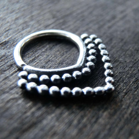 septum silver triangle double banded