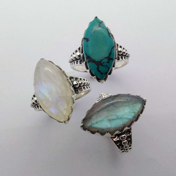sterling silver rings moonstone labradorite turquoise