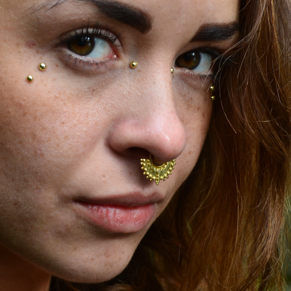tribal septum brass nose ring