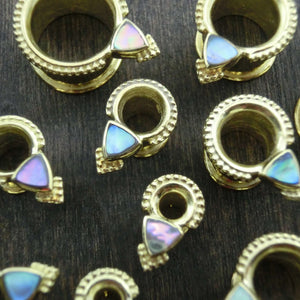 tunnels brass abalone shell gauges for women