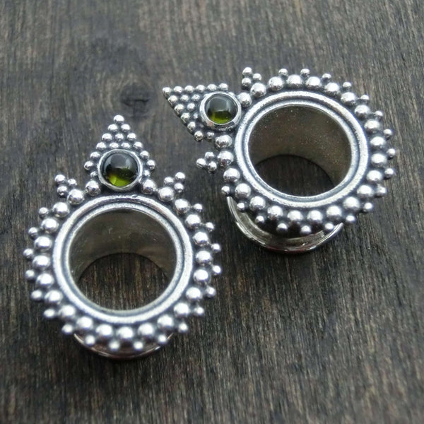 tunnels gauges silver pyramid green tourmaline