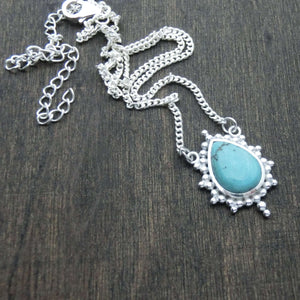 turquoise necklace silver star shape