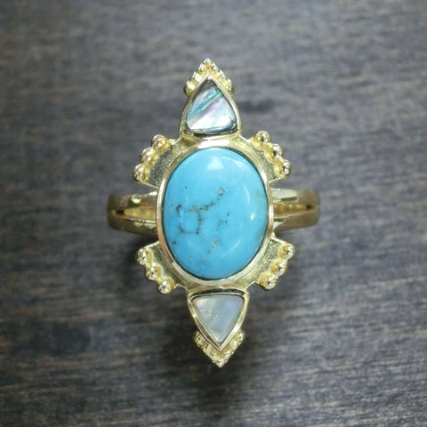Turquoise Ring with Abalone Shell⎜RITUAL