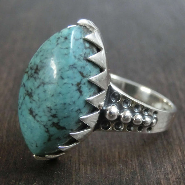 turquoise silver ring details band