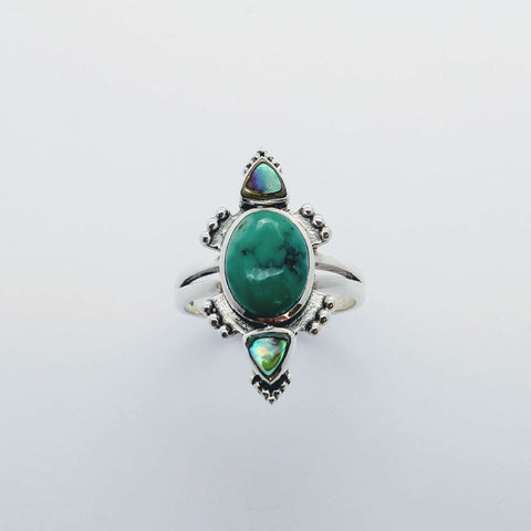 sterling silver ring turquoise abalone shell