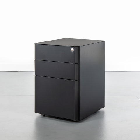 Black office storage cabinet with 3 drawers