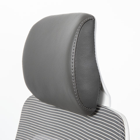 White office chair headrest with PU leather material