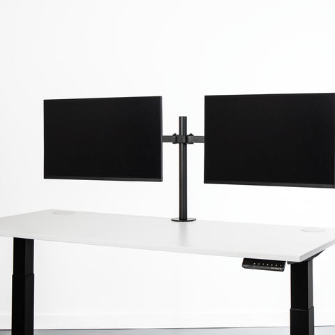 Black monitor desk mount with two screens