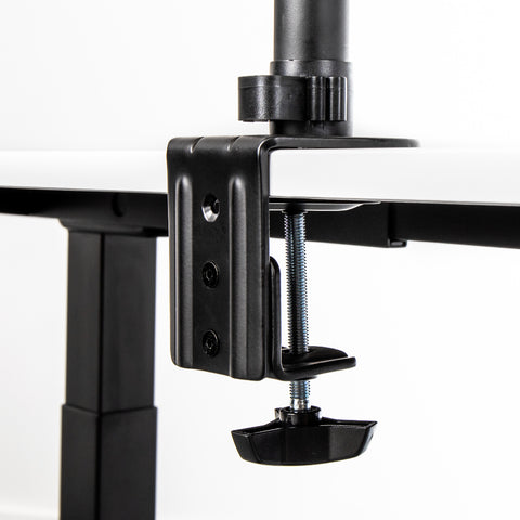 Black monitor mount with universal desk clamp feature