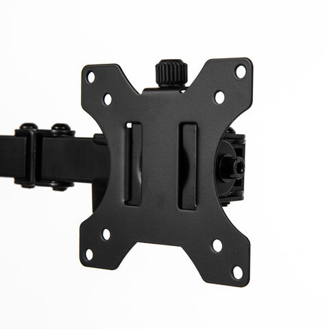 Black monitor mount with VESA plate to attach computer monitor