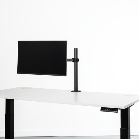Black monitor desk mount with one screen extension