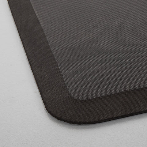 Close up of a black floor mat beveled corner