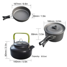 Load image into Gallery viewer, 1 Set Outdoor Pots Pans Camping Cookware Picnic Cooking Set Non-stick Tableware  With Foldable Spoon Fork Knife Kettle Cup