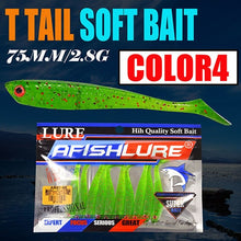 Load image into Gallery viewer, 10pcs Paddle T Tail Soft Worm Fishing 75mm2.8g Shads Soft Lures Silicone Bass Minnow Bait Swimbaits Plastic Lure Pasca Grub Fish